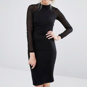 Ted Baker Black Fitted long sleeve Dress